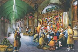 An illustration of the storytelling tradition of pardekhani.